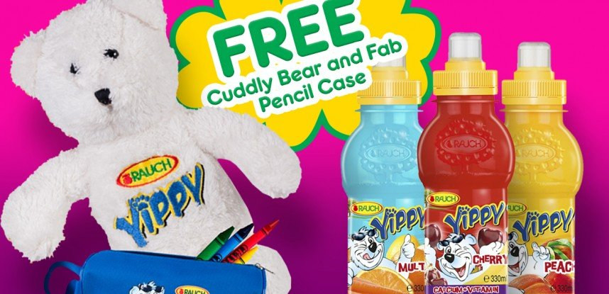 FREE Cuddly Bear and Fab Pencil Case with 20 Yippy bottle Labels!